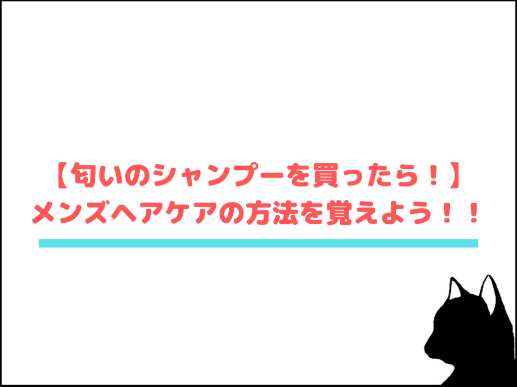 【匂いのシャンプーを買ったら!】メンズヘアケアの方法を覚えよう!!
